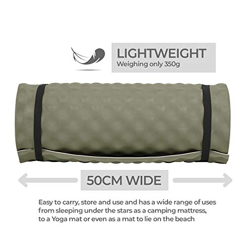 Outdoor Lightweight Multi-Functional Comfort Roll Up Travel Mat - Durable EVA Foam, Water Resistant, Contour Design - Perfect for Camping, Festival, Yoga, Exercise, Garden, Outdoors, Hiking, Fishing, Park, Picnic, Backpacking