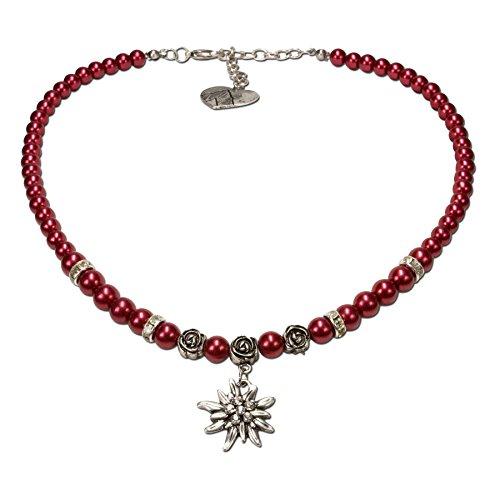 Alpenflüstern Perlen-Trachtenkette Fiona mit Strass-Edelweiß klein - Damen-Trachtenschmuck Dirndlkette rot DHK122