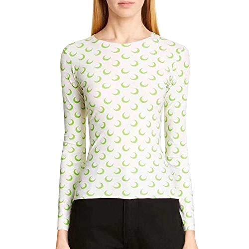 Lente en Herfst Mode Ms. Maan Print Slim Slim Backing Hoge Elasticiteit Skinny T-shirt met lange mouwen Onderdompeling Shirt - mix zwart Geslacht