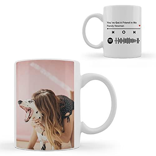 PROMO SHOP Taza Desayuno con Foto Personalizada a Todo Color y Código Spotify · Opción de Personalizar Nombre de la Canción y Artista Cumpleaños