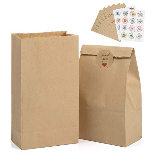 Pochette Kraft, GuKKK 100 Petites Sac Kraft 22 x 12 x7 cm, Sac d'Emballage Biodégradable, Sacs en Papier Artisanal, pour Pop-Corn, Semence, Bonbons en a Vrac, Biscuits de Boulangerie, Kit Patisserie