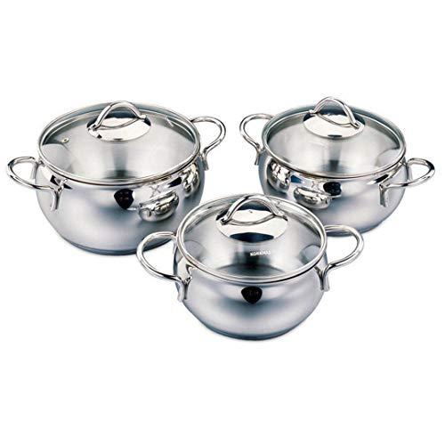 Korkmaz Tombik Jr. A1801 18/10 Cr-Ni - Batería de cocina (3 piezas, acero inoxidable, apto para lavavajillas)