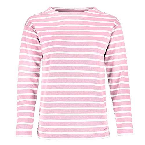 modAS Bretonisches Damen Fischerhemd Langarm Streifen Hemd rosa/weiß gestreift 2500D_14 Größe 42 (Damen) / 50 (Herren)