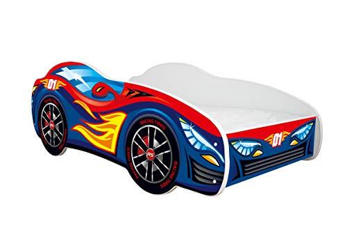 Topbeds lit pour Enfant Design Voiture – Matelas Inclus 160 x 80 – Racing Car – Rouge-Bleu