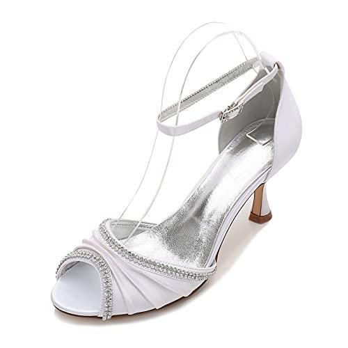 Zapatos de tacón bajo Verano Punta Abierta para Mujer Diamante Satén con...