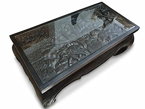 Kinaree Mesa de centro de acacia natural con elefantes o dragones tallados y tablero de cristal (elefante, negro)