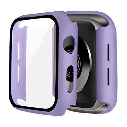 Vetro + custodia per Apple Watch Series 6 SE 5 4 44mm 40mm Bumper Screen Protector Cover per iwatch 3 2 1 38mm 42mm Accessorie-lavanda, serie 456 SE 44MM