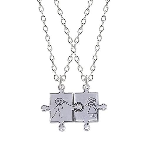 Collares Juego de 2 piezas de joyería de San Valentín para hombre y mujer, collar y colgante, escultura de rompecabezas para pareja de moda