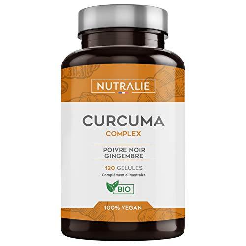NUTRALIE | Curcuma BIO 100% naturel | Association optimale de Curcuma et poivre noir | 120 gélules végétales de haute absorption composées de Curcumine, Gingembre et Pipérine | Curcuma Complex