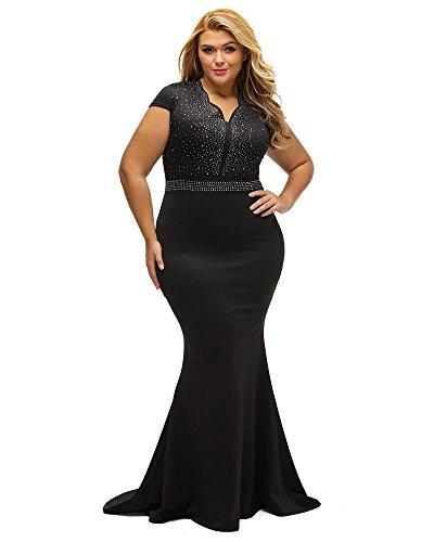 LALAGEN Women's Short Sleeve Rhinestone Plus Size Long Cocktail Evening Dress Black XXXXL