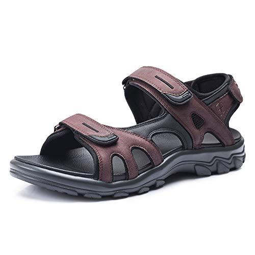 FITORY Hombres Mujeres Sandalias Deportivas Cómodo Ajustable Tres Capas de Velcro Al Aire Libre Senderismo Zapatos de Playa Rojo Marrón Tamaño 41