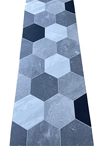 LaVelahome Tappeto Cucina a metraggio PVC Largo 50 cm marmette cementine azulejo (ESAGONI Grigio BAINCO Nero)