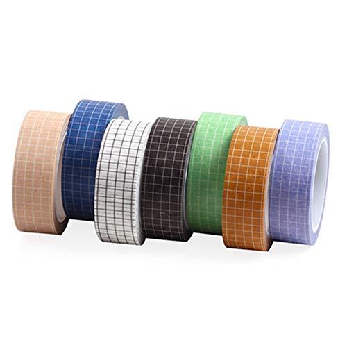 Egurs Washi Tape 7 Rollen Dekorative Selbstklebendes Bunte DIY Washi Masking Tape Papier Klebebänder,Gitter Muster