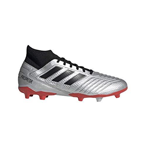 adidas Herren Predator Firm Ground Raubtier 19.3 Fester Boden, Silber Metallic/Schwarz/Hi-Res Rot, 40 EU