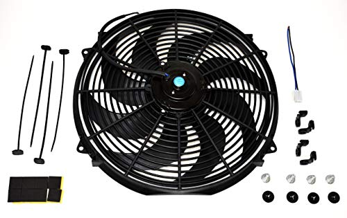 "A-Team Performance 160061 16"" High Performance Heavy Duty 12V Black Radiator Electric Wide Curved Cooling Fan Assembly Kit 8 Blade FAN 3000 CFM"
