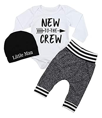 Newborn Baby Boy Clothes New to The Crew Letter Print Romper+Long Pants+Hat 3PCS Outfits Set (White, 3-6 Months)