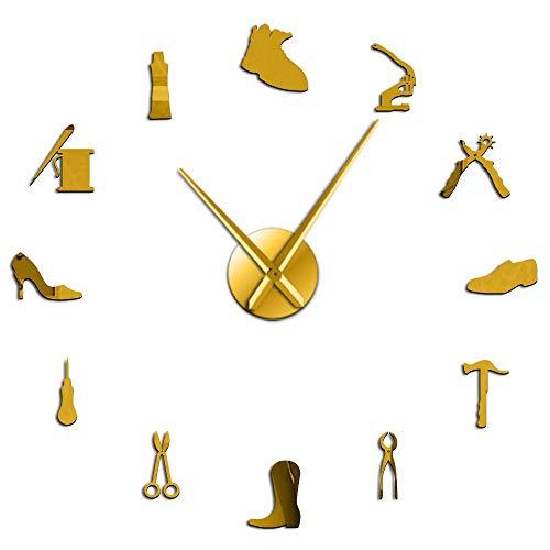 Silversart - Reloj de pared gigante para reparación de zapatos, decoración del hogar, sin marco, gran reloj de pared, zapatero, zapatero, regalo (dorado, 47 pulgadas)
