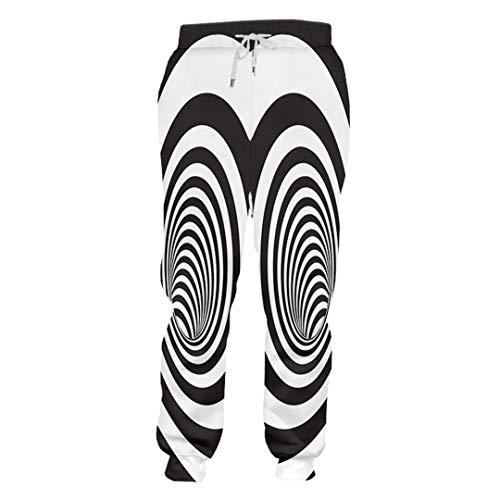 FR-pants-personality Pantalon de survêtement Tendance rayé pour Hommes imprimé en 3D créatif Noir Blanc Couture Vortex vêtements Homme Pantalon en Spandex Black White Vortex XXL