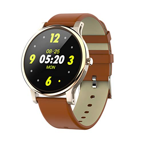 """Mintsin 1.3"""" LCD Display Touch Screen Fitness Tracker Watch with Heart Rate and Sleep Monitor, Notification Smartwatch Compatible with 2019 Version Android and iOS (Silver Brown PU Leather Watchband)"""