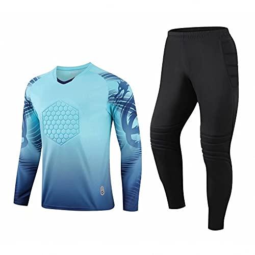 QGGESY Männer Kind gepolstertes Torwart-Fußball-Trikot, Jugend-Torwart-Bekleidungshemd und -Hose, Jungen-Mädchen-Keeper-Kit,Blue Suit,XS
