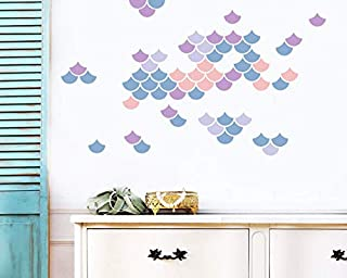 BYRON HOYLE Mermaid Scale Wall Decals - Mitli - Colored Decal, Nursery Decals, Geometric Decals, Scandinavian Wall Decals, Mermaid Decals ga125