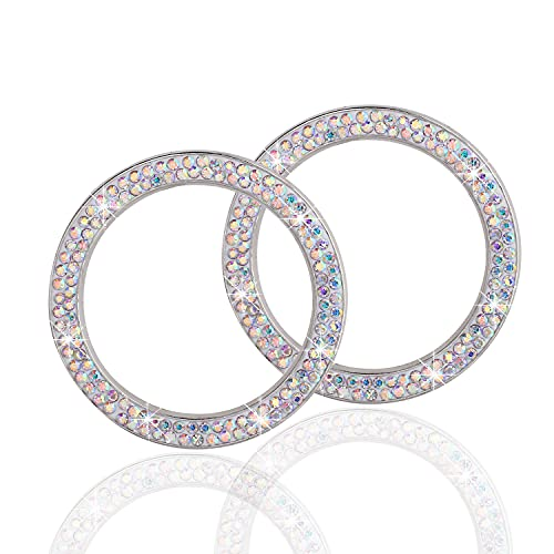 LivTee 2 PCS Crystal Double Rhinestone Car Engine Start Stop Decoration Ring, Bling car Accessories, Push to Start Button, Key Ignition & Knob Bling Ring, Colorful
