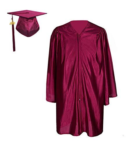 GraduationForYou Shiny Kindergarten Gown Cap Tassel 2020 Maroon