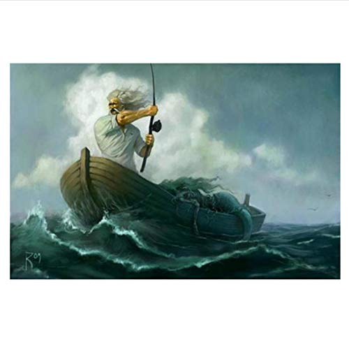 PDFKE Carteles de El Viejo y el mar, Lienzo, Cuadros artísticos para Pared, decoración de habitación, 50x70 cm, sin Marco, 1 Uds.
