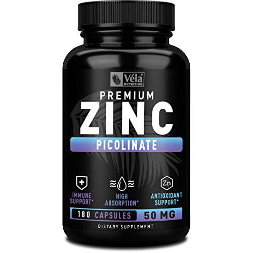 Zinc Picolinate 50mg (180 Capsules | 6-Month Supply) Pure Zinc 50mg Zinc Picolinate Zinc Capsules Powerful Zinc Supplements & Natural Immune Booster Zinc Vitamins for Adults, Immune Support