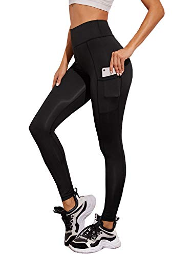 SweatyRocks Women's Stretchy Sheer Mesh Workout Leggings Yoga Pants with Pocket Black L