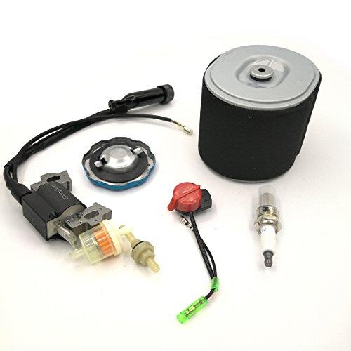 Cancanle Bobina de Encendido y Filtro de Aire Kit de Servicio de Filtro de Tapa de Combustible de Gas para Honda GX340 GX390 188F 190F Motor Generador Cortacésped