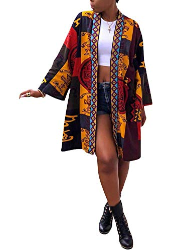 Women's Casual African Geometric Patterns Print Long Sleeve Open Front Long Blouse Loose Tops Outwear Jacket Coat