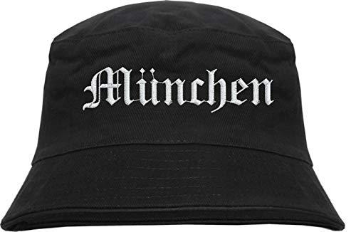 HB_Druck MÜNCHEN Fischerhut - Bucket Hat - Bestickt - Schwarz S/M