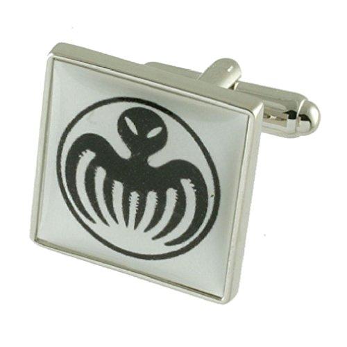 James Bond Spectre Designer Schwere Gewicht Solide Sterling Silber 925Manschettenknöpfe + Personalisiertes Geschenk Nachricht Manschettenknöpfe Box