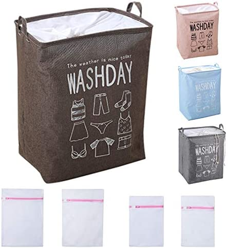 7 Star New Large Laundry Hamper 4 Colors with 4 Pack Mesh Wash Bags Drawstring Closure Durable product image
