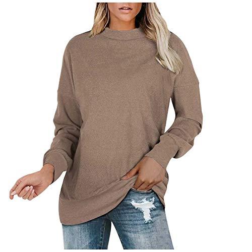 Damen Tops Loose Sportswear und einfarbigen Pullovern Casual Winter Teddy-Fleece Langarm Oversize Sweatshirt Mantel Tops Rundhalsausschnitt Strick Ponchos Vintage Stricksweatshirt