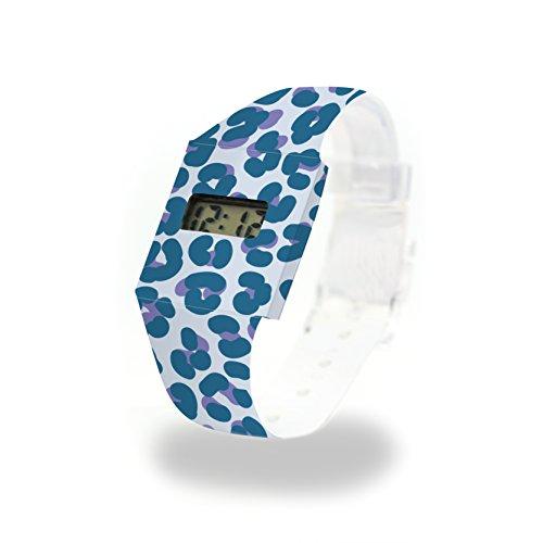 Leopard Bleu cartón Watch/Paper Watch/Reloj de Pulsera Digital de Tyvek®, Absolutamente Resistente y Agua