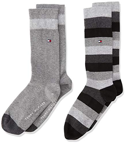 Tommy Hilfiger TH Kids Basic Stripe Sock Pack de 2 Calcetines para Niños, Negro (black 200), 39-42