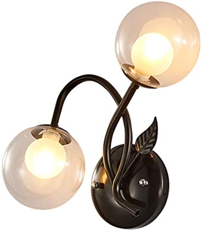 TopDeng Klares Glas Ball Wandleuchte G9, Doppelt Modern Kreativ Wandleuchte Schattierungen Schlafzimmer Wohnzimmer Dekor-schwarz-A 30cm