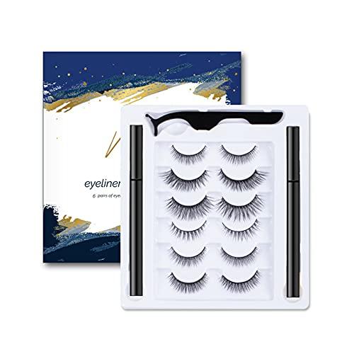 YEHEI Faux Cils Auto-Adhésifs Set Naturel sans Aimant Imperméable Magic Eyeliner Tweezers Kit De Maquillage