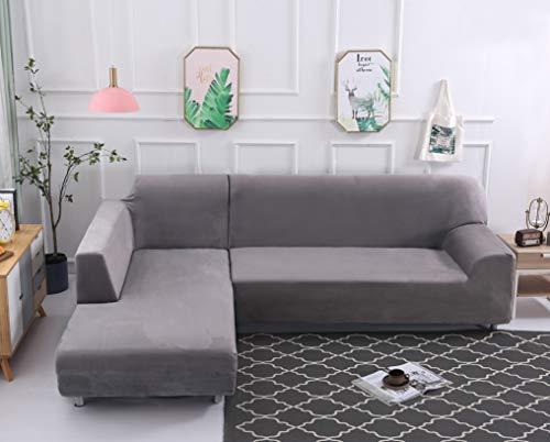 ele ELEOPTION Sofa Überwürfe elastische Stretch Sofa Bezug 2er Set 3 Sitzer für L Form Sofa inkl. 2 Stücke Kissenbezug (Silber grau)
