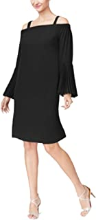 Women's Cold-Shoulder Shift Dress Size S Deep Black