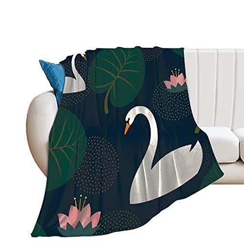 Flauschige Kuscheldecke Weiße Schwäne Seerose Und Blätter Tagesdecke Oder Wohnzimmerdecke 40