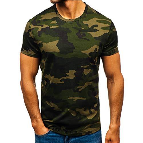 Yowablo Herren Poloshirt Polohemd Stehkragenshirt Kurzarmshirt Funktionsshirt Sportshirt Fitness Shirt Tee T-Shirt Sporthemd Trainingsshirt Sportswear T-Shirt (L,1Armeegrün)