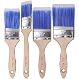 Bates Paint Brushes - 4 Pack, Treated Wood Handle, Paint Brush, Paint Brushes Set, Professional Brush Set,...