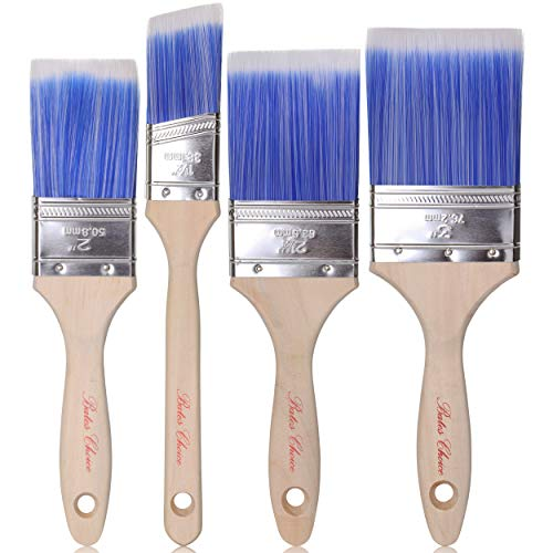 Bates Paint Brushes - 4 Pack, Treated Wood Handle, Paint Brush, Paint Brushes Set, Professional Brush Set, Trim Paint Brush, Paintbrush, Small Paint Brush, Stain Brush
