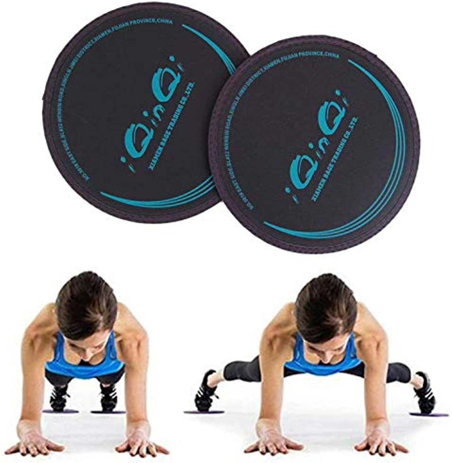 IQinQi Exercise Gliding Discs 2 Pcs Core Sliders Use on Hardwood Floors Abdominal Total Body Workout Equipment for Gym, Home, Travel