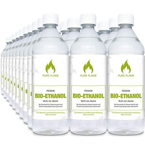 Bioethanol 96,6% – 30 x 1L Flaschen zum handlichen Gebrauch - Reinheit, Qualität, Sicherheit & nachhaltige Herstellung - Made in Germany