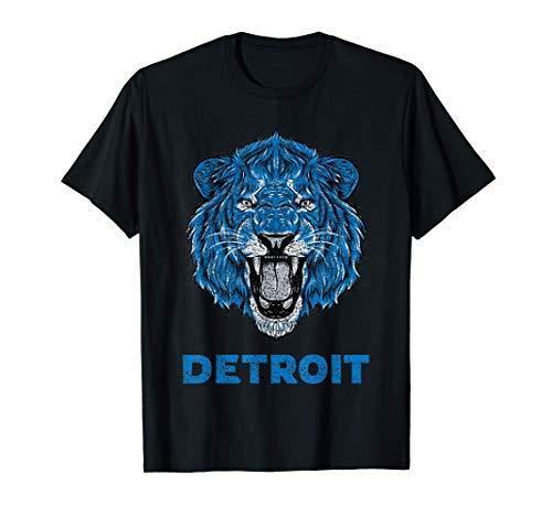 Funny Vintage Lion Face Head Detroit Gifts T-Shirt