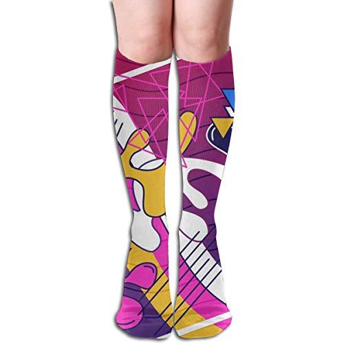 Bert-Collins Calcetines de vectores coloridos abstractos de poliéster para correr, atlético, viajes, uso diario, calcetines para mujeres y hombres